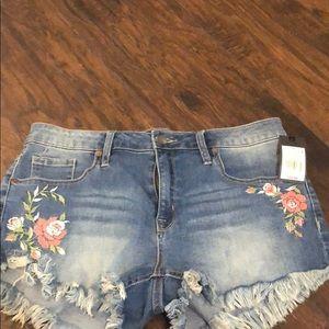 Denim Floral shorts